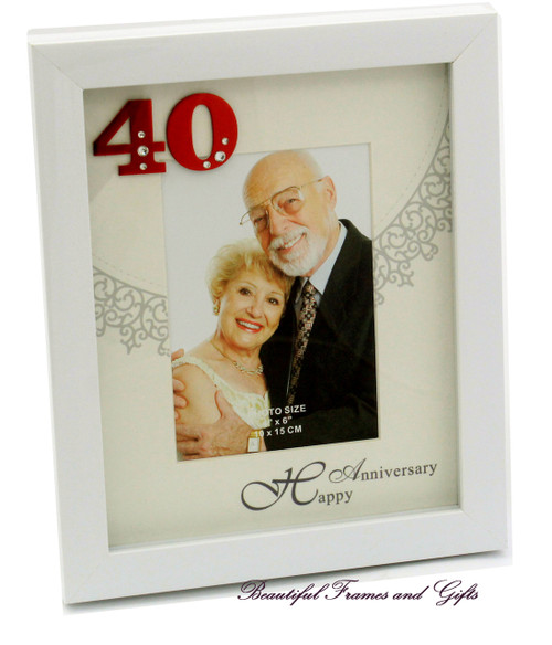 40th Wedding Anniversary White Photo Frame