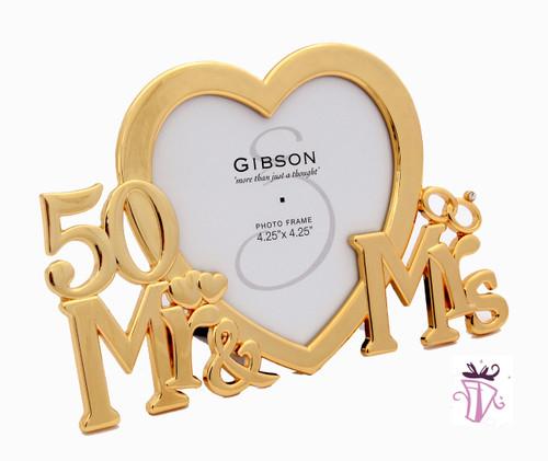 50th Wedding Anniversary Gold Heart Frame