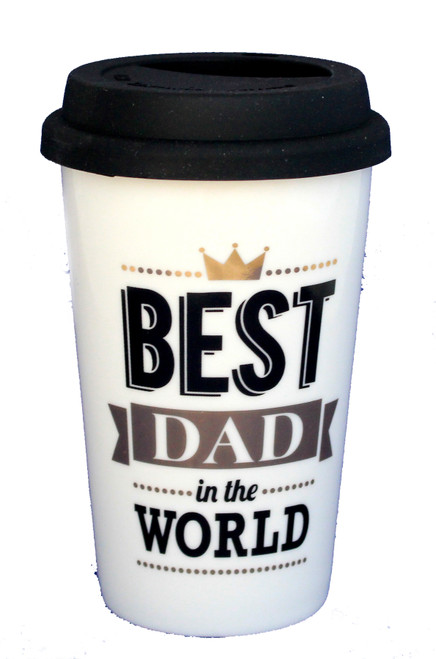 Best Dad Gold & Black Travel Coffee Mug