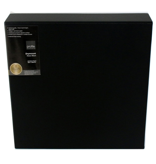 Black Classic Leather Quality Dry Mount Photo Album 32cm Page