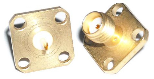 SMA-Female 4-Hole Panel Coaxial Adapter Connector