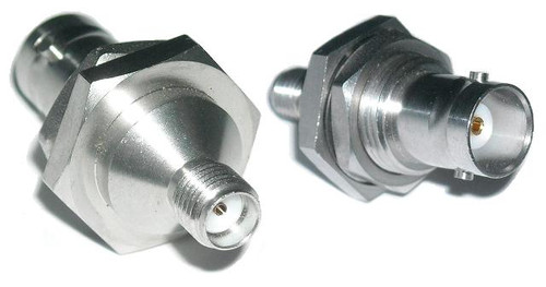 BNC-Female to SMA-Female Coaxial Adapter Bulkhead Connector