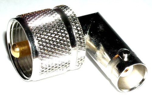 BNC-Female to UHF-Male PL-259 Right Angle Elbow Coaxial Adapter