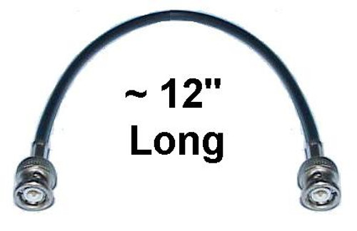 """12"""" Long - BNC-Male to BNC-Male Pigtail Coaxial Jumper Cable"""