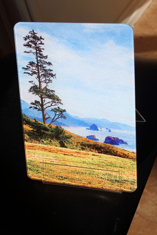Shore Tree - Glass Cutting Board - 10.75 in x 7.75 in