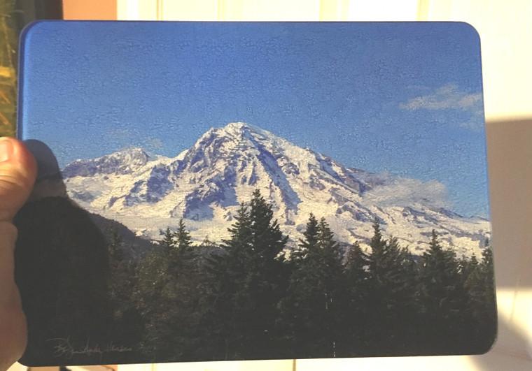 Mount Rainier - Glass Cutting Board - 7.75in  x 10.75in