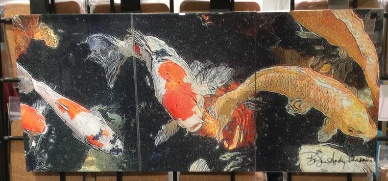 Koi Tile Mosaic - 3 - 6 x 8 in Tiles (8 in x 18 in)