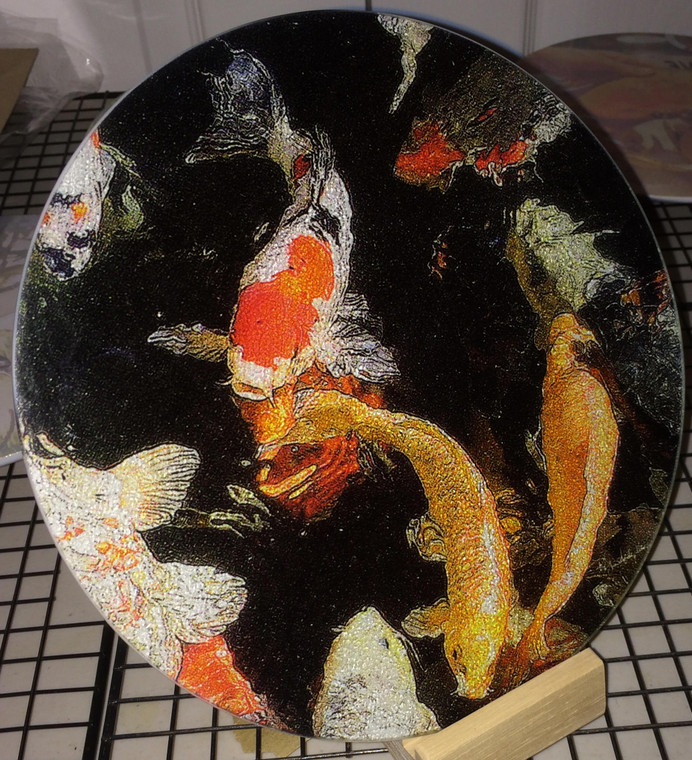 Round Glass Cutting Board - Koi - 8 in