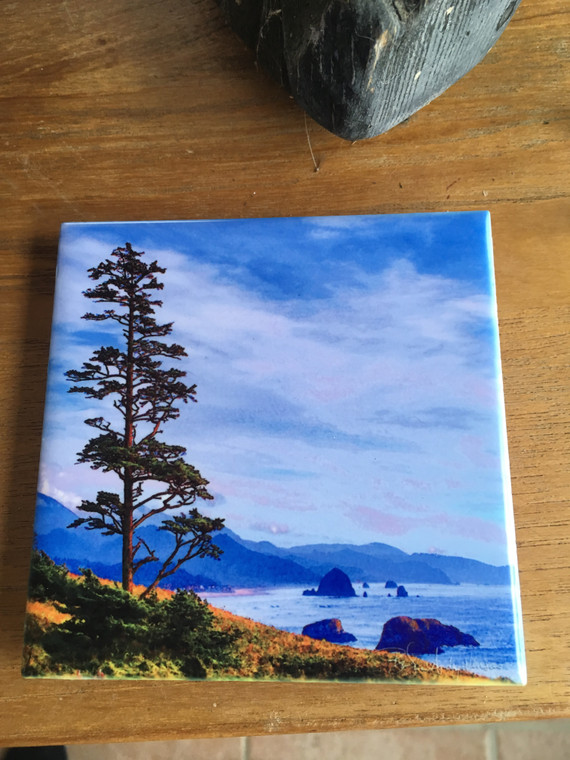 Ceramic Tile or Coaster - Shore Tree and Haystack Rock 4.25 in x 4.25 in