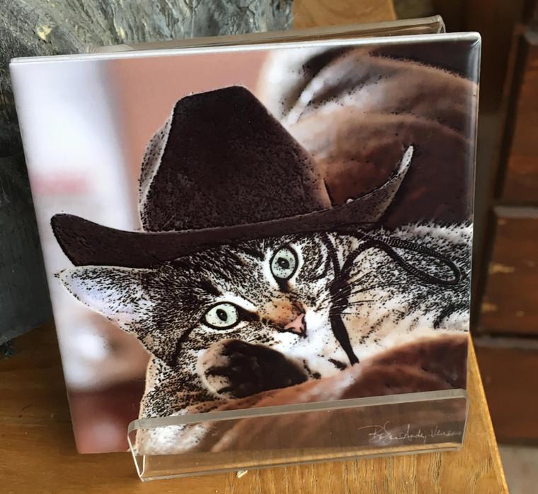 Ceramic Tile or Coaster - Cat - Rodeo Girl 4.25 in x 4.25 in