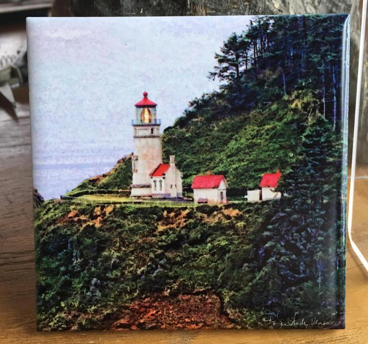 Ceramic Tile - Heceta Head Light on the Oregon Coast 4.25 in x 4.25 in