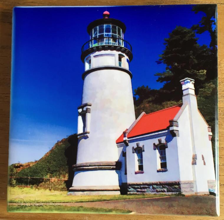 Ceramic Tile - Heceta Head Light (Vertical) on the Oregon Coast 4.25 in x 4.25 in