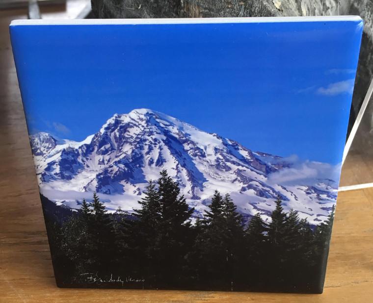 Ceramic Tile or Coaster - Mount Rainier 4.25 In x 4.25 In