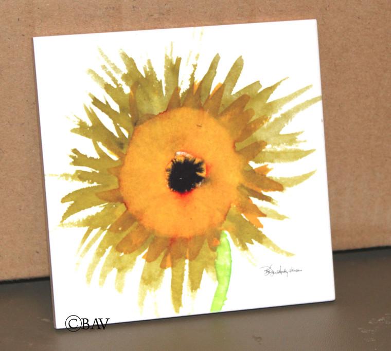 Ceramic Tile or Coaster - Sunflower 4.25 In x 4.25 In