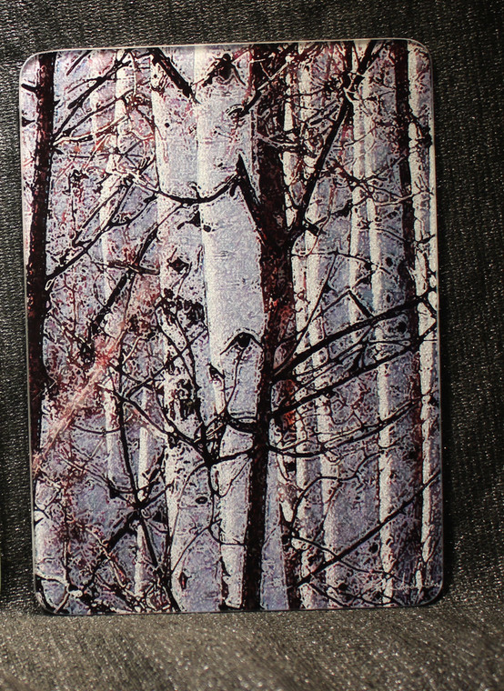 Spring Aspen Glass Cutting Board -  7.75in x 10.75in