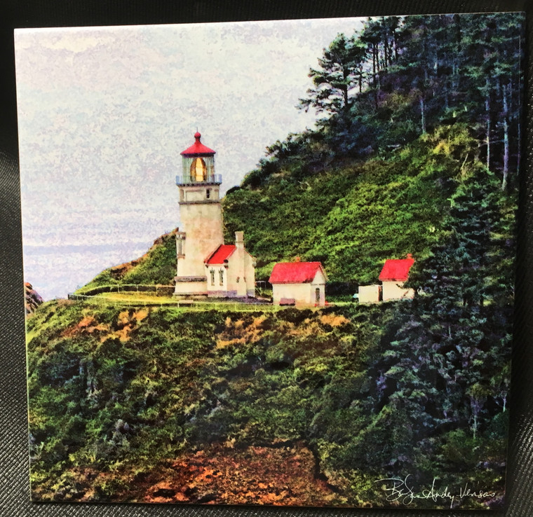 Decorative Tile - Heceta Head Light 8 in x 8 in