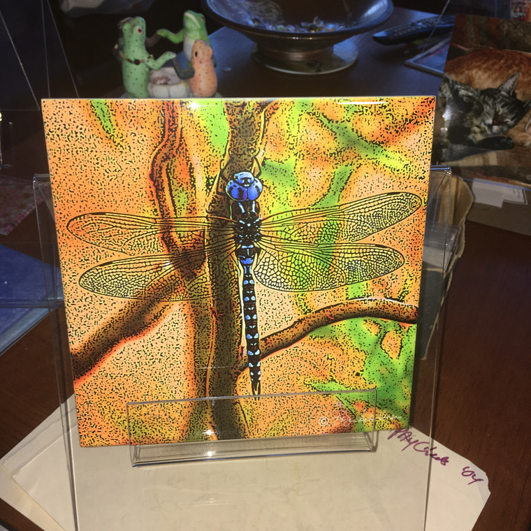 Decorative Tile - Blue Dragonfly 8 In x 8 In