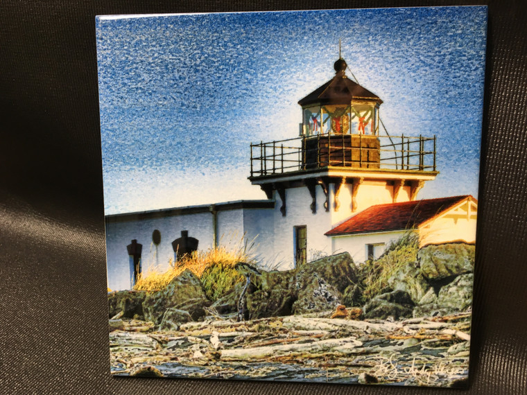 Decorative Tile - Point No Point Lighthouse 8 in x 8 in