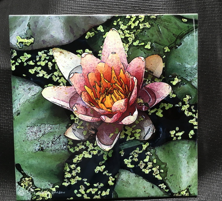 Decorative Tile - Pink Lily 8 in x 8 in