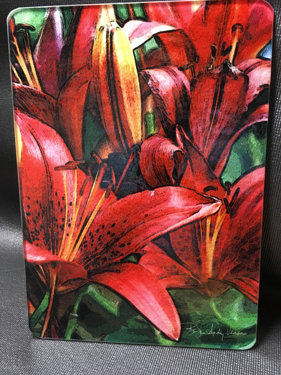 Red Asian Lily Glass Cutting Board -  7.75in  x 10.75in