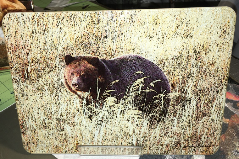 Grizzly Bear Glass Cutting Board -7.75in  x 10.75in