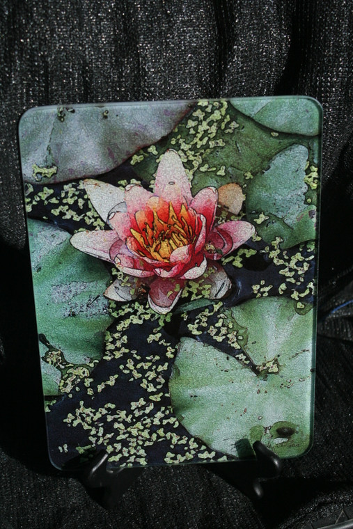 Pink Lily Glass Cutting Board -7.75in  x 10.75in