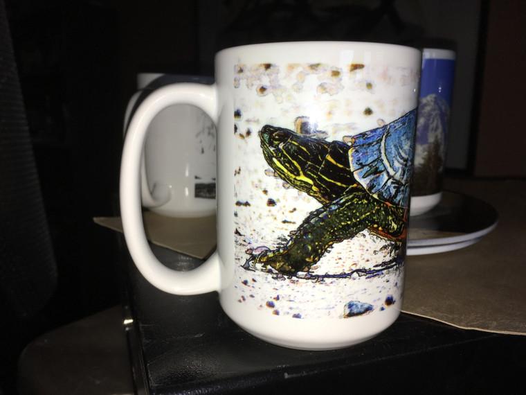 Western Painted Turtle Large Coffee Mug 15 Oz