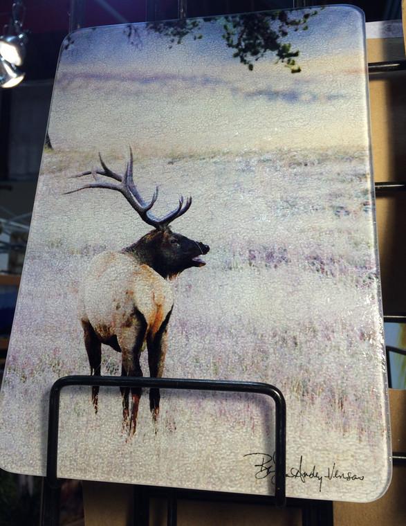 Elk Standing Glass Cutting Board - 7.75 in x 10.75 in