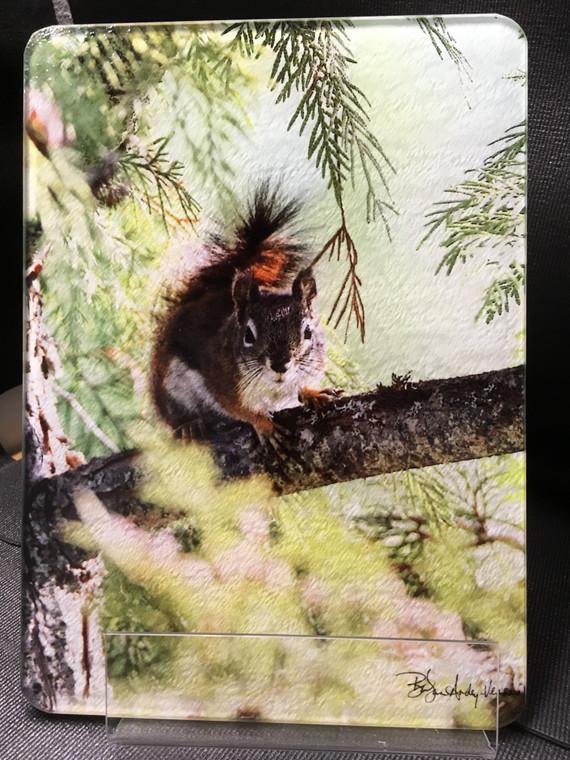 Red Squirrel MT- Glass Cutting Board - 7.75in x 10.75in