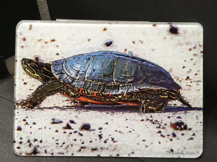 Painted Turtle Glass Cutting Board - 10.75in x 7.75in