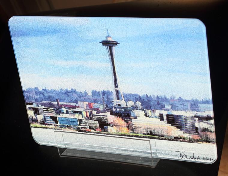 Space Needle Art - Glass Cutting Board - Small - 7.75 x 10.75