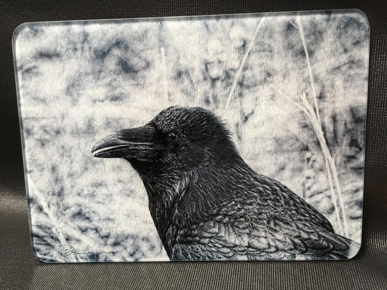 Raven - Black & White Glass Cutting Board -7.75in  x 10.75in