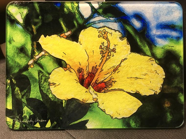 Yellow Hibiscus Glass Cutting Board - 10.75 in x 7.75 in