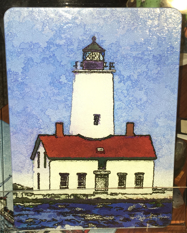 Dungeness Lighthouse Glass Cutting Board 7.75in  x 10.75in