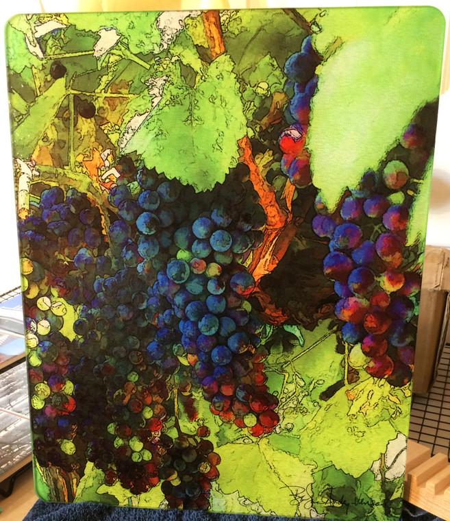 Grape Vine Glass Cutting Board Large -  12 in  x 15 in