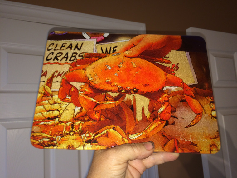 Crab - Glass Cutting Board - Dungeness  - 7.75in  x 10.75in