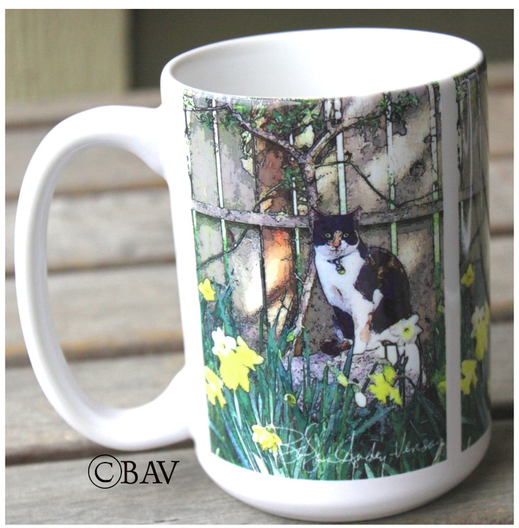 Cat in the Garden 'Ginger'  Large Coffee Mug 15 Oz
