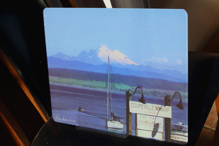 Coupeville, WA Glass Cutting Board Large - 12 in x 15 in