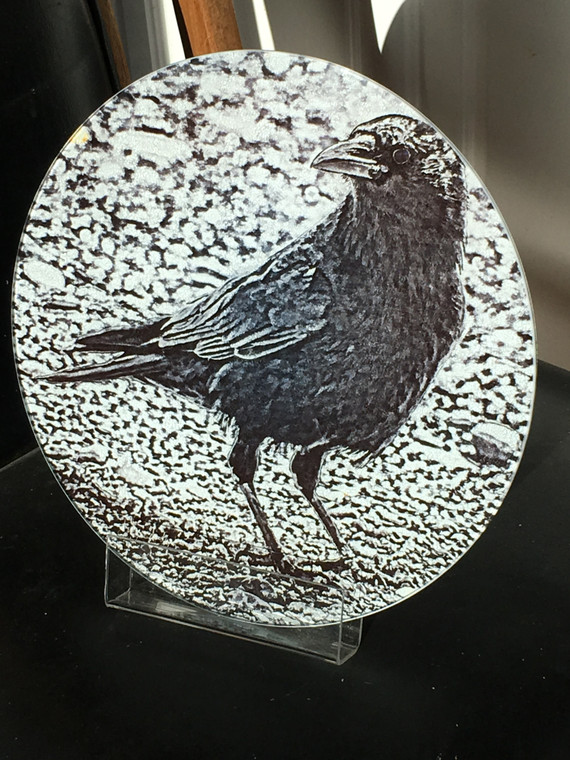 Black & White Crow - Round Glass Cutting Board Large - 12 in diameter