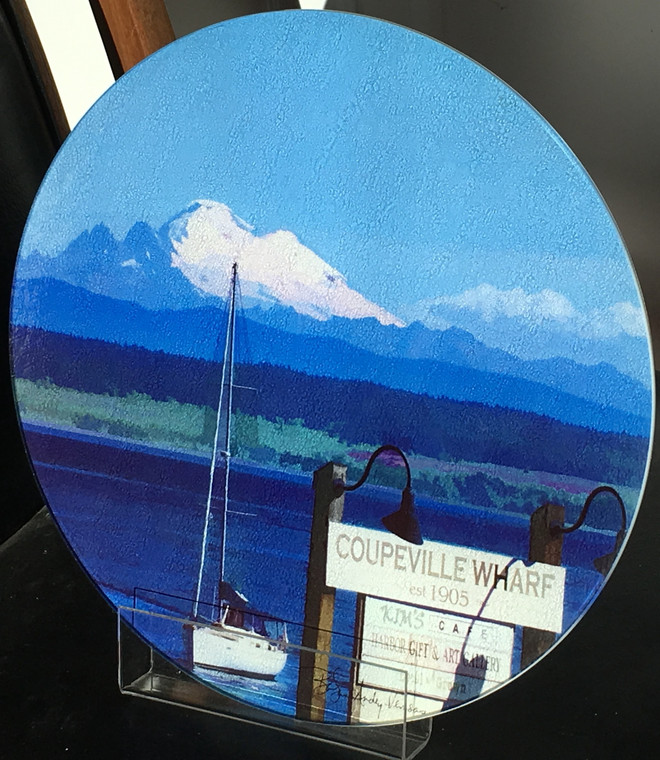 Coupeville, WA Round Glass Cutting Board Large - 12 in diameter
