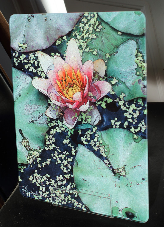 Pink Lily Glass Cutting Board - 12 in x 15 in