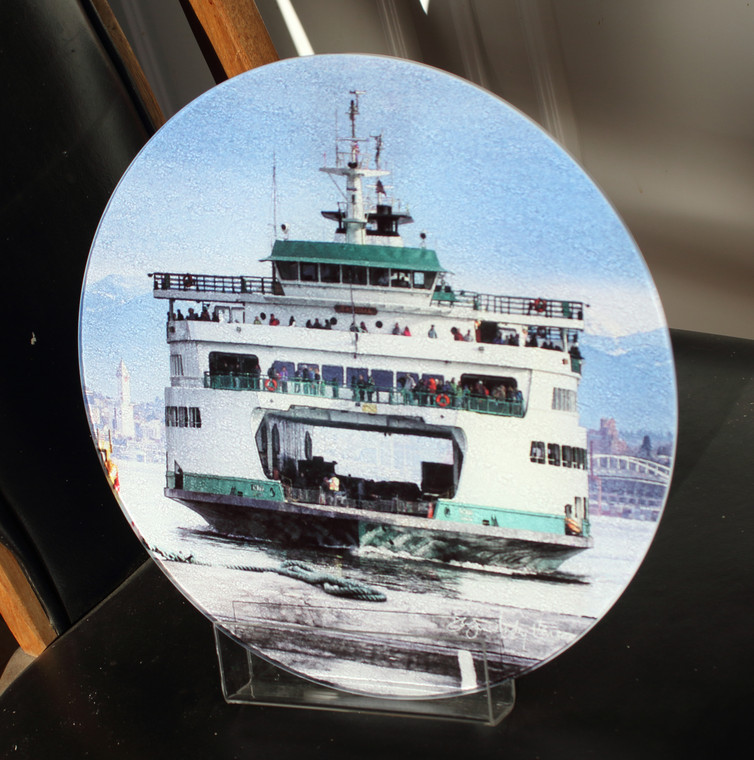 Ferry Tacoma -Round Glass Cutting Board Large -  12 in diameter
