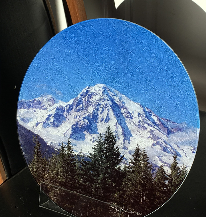 Mount Rainier - Round Glass Cutting Board Large - 12 in diameter