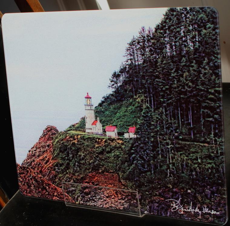Heceta Head Light  - Large Glass Cutting Board - 12 in x 15 in