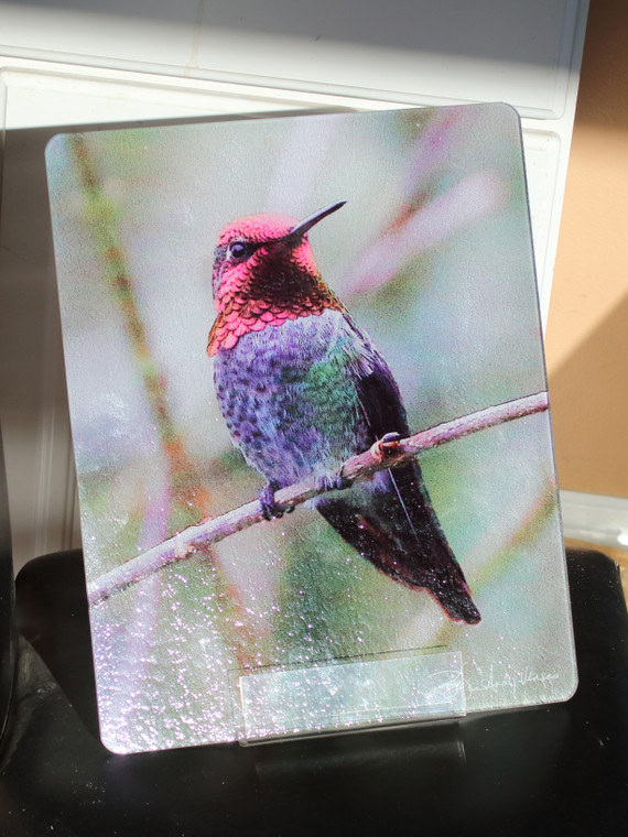 Anna on a Branch Glass Cutting Board Large -  12 in x 15 in