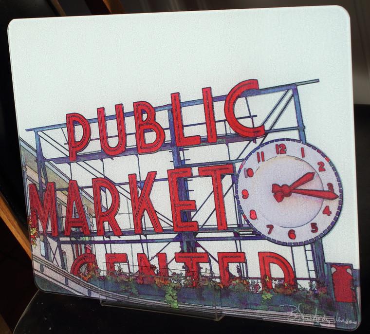 Pike Place Market - Glass Cutting Board - 12 in x 15 in