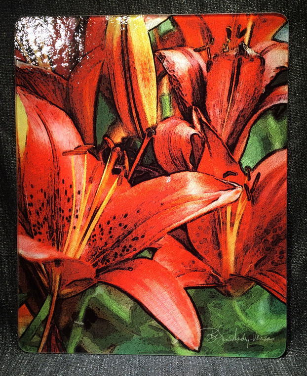 Red Asian Lily - Glass Cutting Board Large - 12 in x 15 in