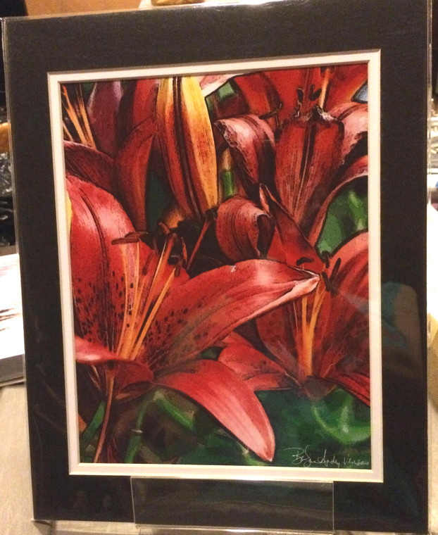 Red Asian Lily - Matted Print 11 x 14