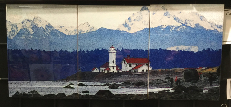Port Townsend Lighthouse Tile Mosaic - 3 - 6 x 8 in Tiles (8 in x 18 in)