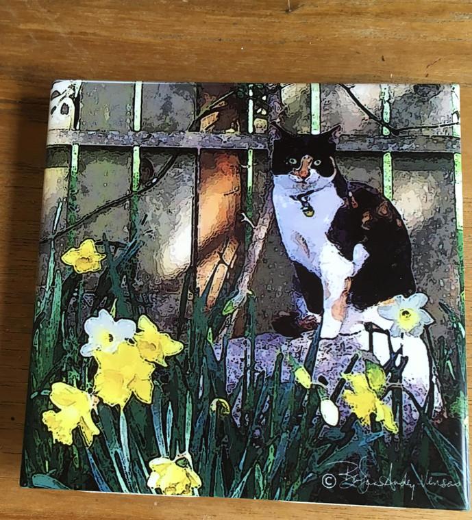 Ceramic Tile or Coaster - Cat in the Garden 4.25 In x 4.25 In